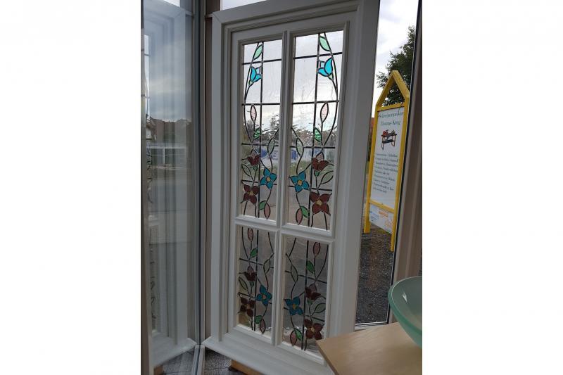 Fenster Selbstgebaut - Sauna weiß lackiert